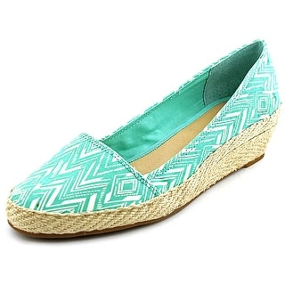 Lucky Brand Tomlinn Women Open Toe Canvas Green Wedge Heel