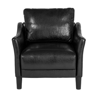Offex Asti Contemporary Upholstered Chair in Black Leather
