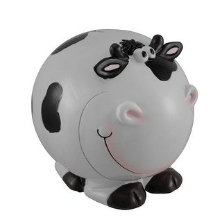 Black and White Bulbous Bovine Round Cow Coin Bank