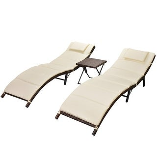 vidaXL Folding Sun Loungers 2 pcs with Table Poly Rattan Brown