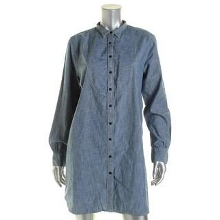 LRL Lauren Jeans Co. Womens Denim Button Down Casual Dress - L