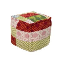 "18"" Red, Green and Pink Plaid Cross Pattern Wool Square Pouf Ottoman"