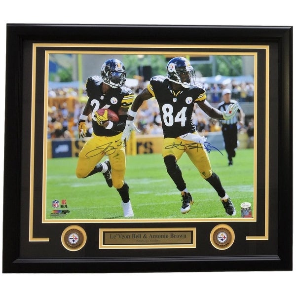 Antonio Brown Le  x27 Veon Bell Signed Framed 16x20 Pittsburgh Steelers  Photo JSA e73f7b093