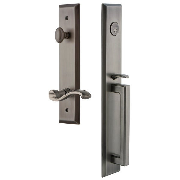 "Grandeur FAVDGRPRT_ESET_238_RH Fifth Avenue Solid Brass Rose Right Handed Keyed Entry Single Cylinder Full Plate ""D"" Grip"