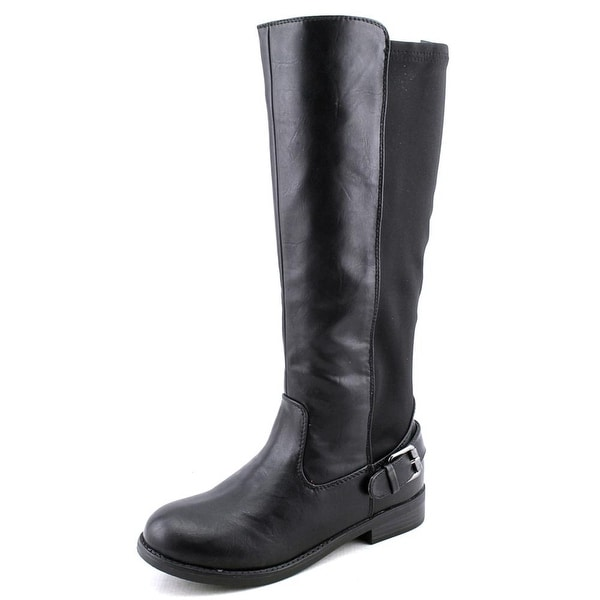 Wild Pair Galvin Women Round Toe Synthetic Black Knee High Boot