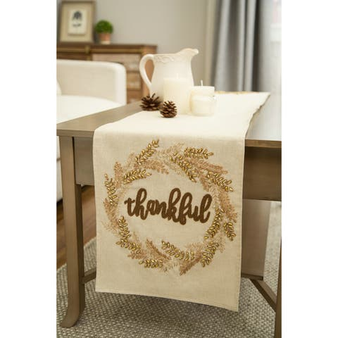 Embroidered Thankful Wheat Design Table Runner by Glitzhome - N/A