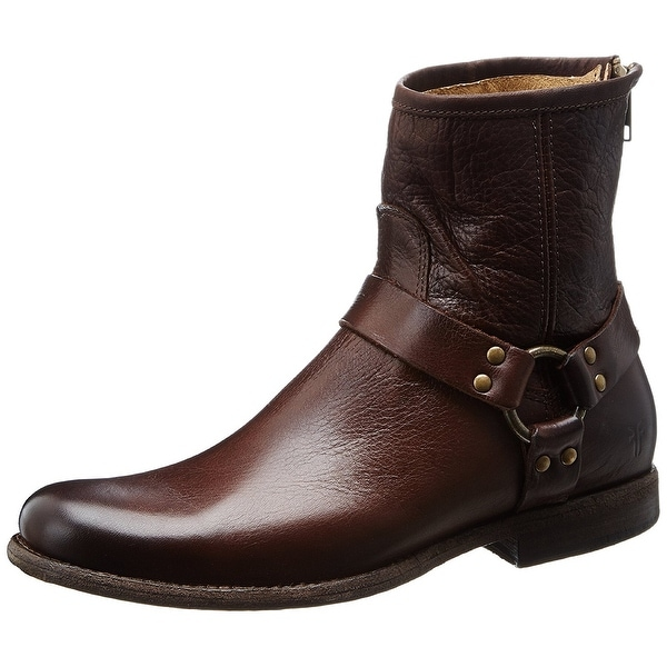 FRYE Womens phillip Leather Almond Toe Ankle Cowboy Boots