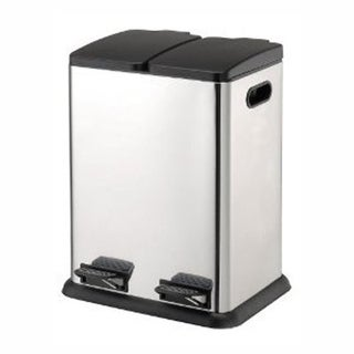 Organize It All Two Compartment Step-On Recycling Bin in Stainless