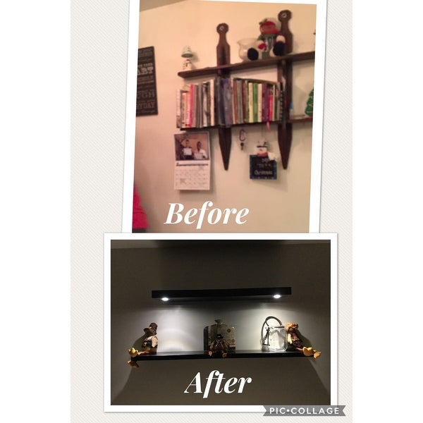 Lewis Hyman Wall Mounted Black Floating Shelf With 2 LED Lights   Free  Shipping Today   Overstock.com   17839370
