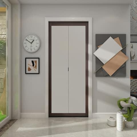 1 Lite Indoor Studio 30 in. X 80.5 in. MDF with Vinyl Frame and Frosted Glass Closet Bi-Fold Door - Brown