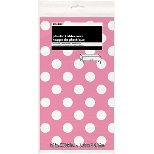 "Plastic Tablecover 54""X108""-Hot Pink Decorative Dots"