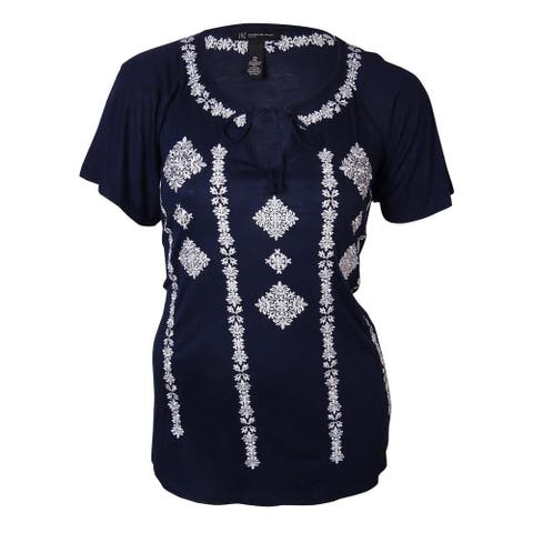 INC International Concept Women's Embroidered Blouse