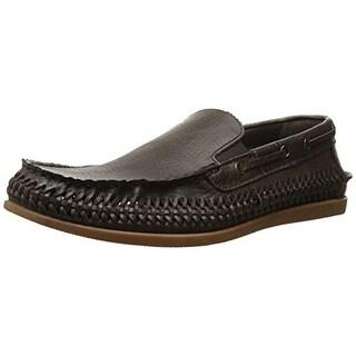 Robert Wayne Mens Andy Textured Leather Loafers - 9 medium (d)