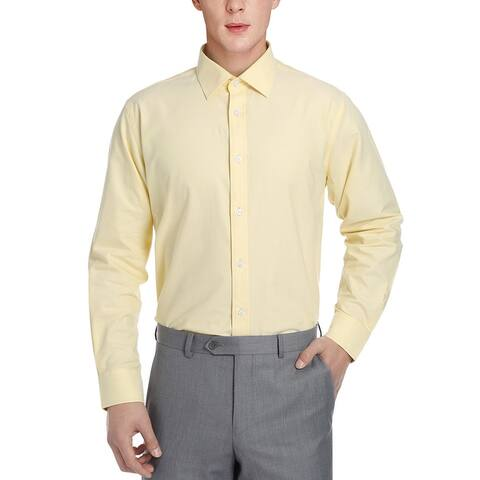 Men's Regular Fit Business Casual Cotton Solid Dress Shirt