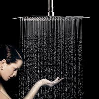 "HK 12"" High Pressure Square Shower Heads w/ 196 Nozzles Rainfall Ultrathin Luxury Massage Showerhead Chrome"