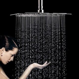 "HK 12"" High Pressure Square Shower Heads w/ 196 Nozzles Rainfall Ultrathin Luxury Massage Showerhead Chrome"