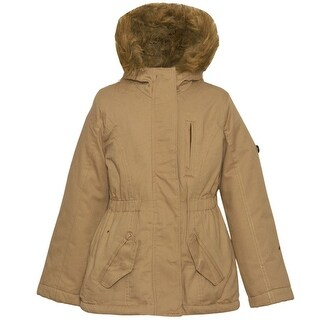 Urban Republic Little Girls Tan Zipper Detail Faux Fur Hood Coat