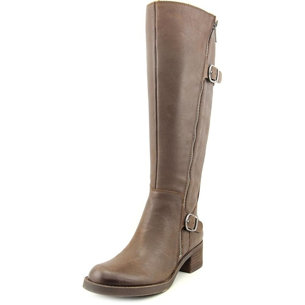 Lucky Brand Hoxy Wide Calf Women  Round Toe Leather Brown Knee High Boot