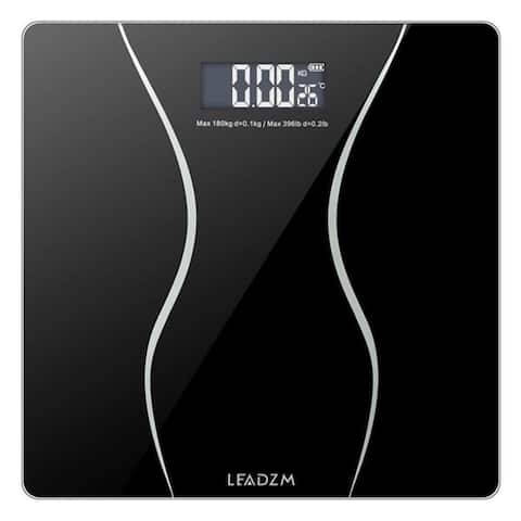 "LEADZM 180Kg Slim Waist Pattern Personal Scale Black - 7'6"" x 9'6"""