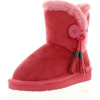 Link Aling-15K Children Girl's Comfort Button With Fringe Warm Winter Boots - CORAL