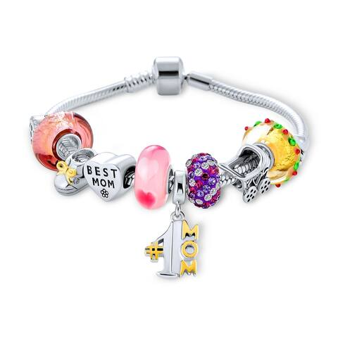 Wife #1 Mother Colorful Family Beads Starter Charms Bracelet - Multi-color