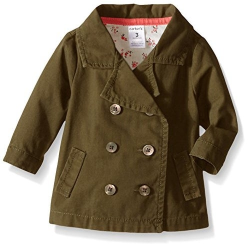 Carter's Baby Girls' Olive Pea Coat
