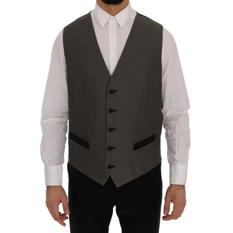 Dolce & Gabbana Dolce & Gabbana Multicolor Black Wool Silk Circle Pattern Vest - it52-xl