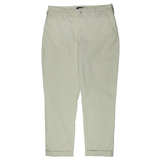 NYDJ Womens Riley Khaki Pants Cuffed Relaxed