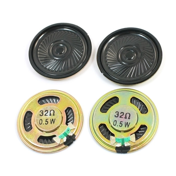 Unique Bargains 4 Pcs 0.5W 32 Ohm 40mm Dia Round Metal Internal Magnet Mini Speaker