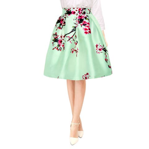 Allegra K Woman Floral Prints High Waist Pleated A Line Midi Skirt