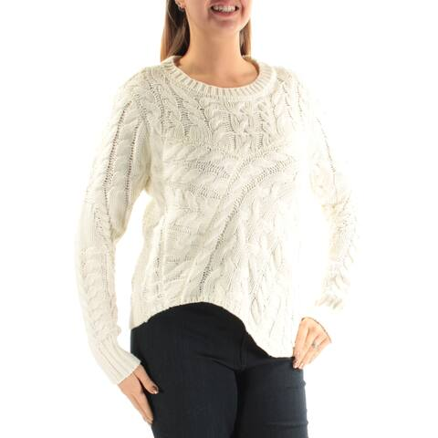 KIIND OF Womens Ivory Textured Long Sleeve Jewel Neck Sweater Size: L