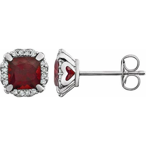 14K White Gold Mozambique Garnet and 1/10 CTW Diamond Earrings for Women