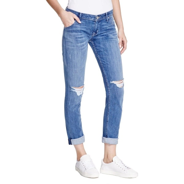 Hudson Womens Jax Boyfriend Jeans Destroyed Flap Pockets