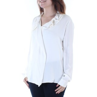 ARMANI $775 Womens New 7058 Ivory Collared Cuffed Button Up Casual Top 6 B+B
