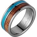 Titanium Wedding Band With Koa Wood & Turquoise Inlay 8mm - Thumbnail 0