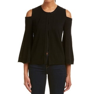 Kobi Halperin Black Womens XL Cold Shoulder Cardigan Wool Sweater