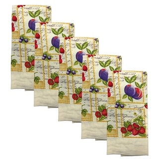 Kitchen Collection 5-Piece Fruit Mix Towel Set, Cream, 15x25 Inches