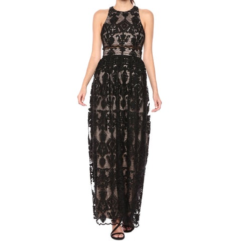 Betsy & Adam Women's Embroidered Lace Illusion Gown