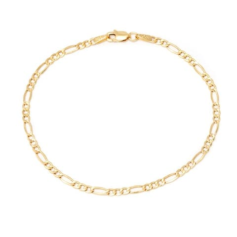 PORI 14K Yellow Gold 2.3mm Figaro Chain Bracelet