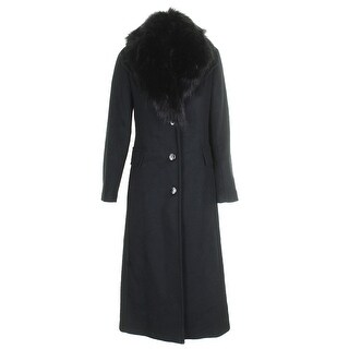 Calvin Klein Black Faux-Fur-Trim Wrap Maxi Coat - 2
