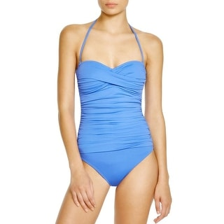 La Blanca Womens Ruched Bandeau One-Piece Swimsuit
