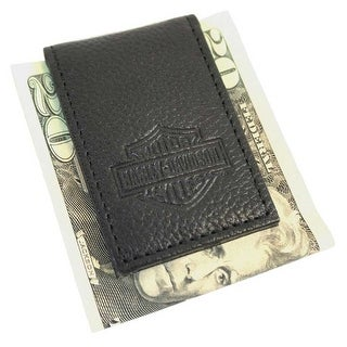 "Harley-Davidson Men's B&S Embossed Leather Magnetic Money Clip MSB8385-BLACK - 1.75"" x 3"""