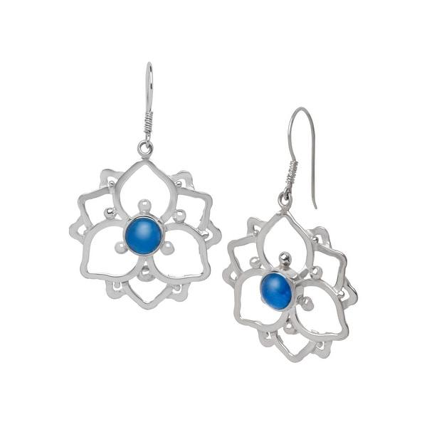 Sajen Kyanite Cabochon Drop Earrings in Sterling Silver - Blue