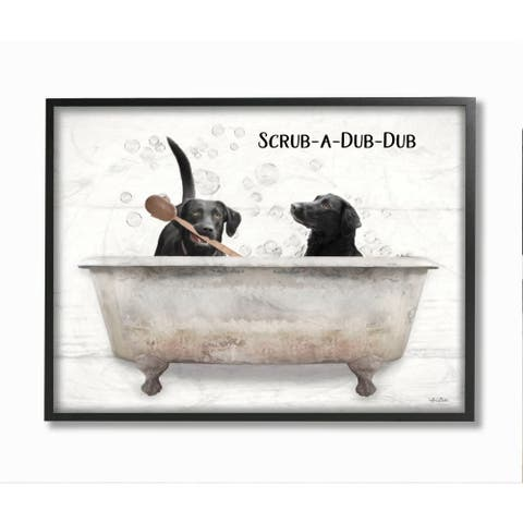 Stupell Industries Scrub a Dub Dub Quote Family Pet Dog Bath Framed Wall Art - White