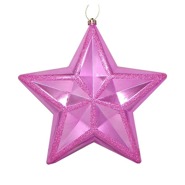 "12"" Shiny Bubblegum Pink Commercial Size Shatterproof Star Christmas Ornament"
