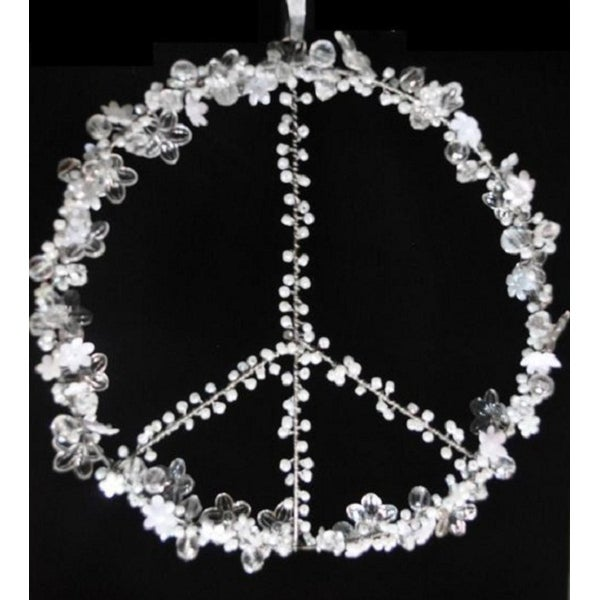 """Set of 2 Clear and White Beaded Peace Sign Window Decorations 8"""""""