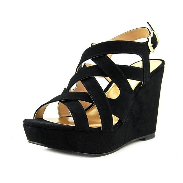Thalia Sodi Maddora Women W Open Toe Canvas Black Wedge Sandal