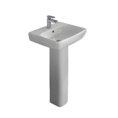 "Bissonnet E14141-54920 Energy 20"" Rectangular Vitreous China Pedestal Bathroom Sink with Overflow and One Faucet Hole - White"