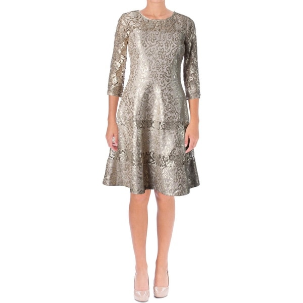 Kay Unger Womens New York Cocktail Dress Metallic Lace-Trim