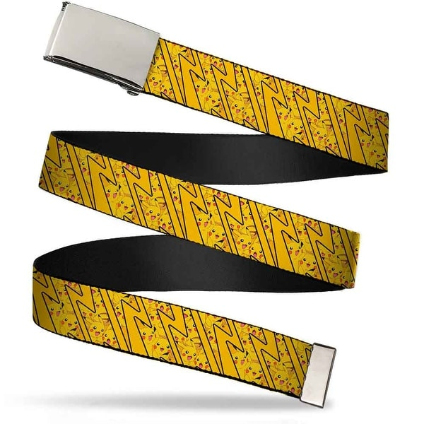 Blank Chrome Buckle Pikachu Poses Stacked Rays Yellows Webbing Web Belt - S